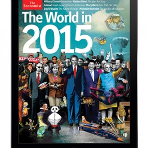 The Economist、2015年展望の表紙、世界の首脳の列から消えた安倍首相